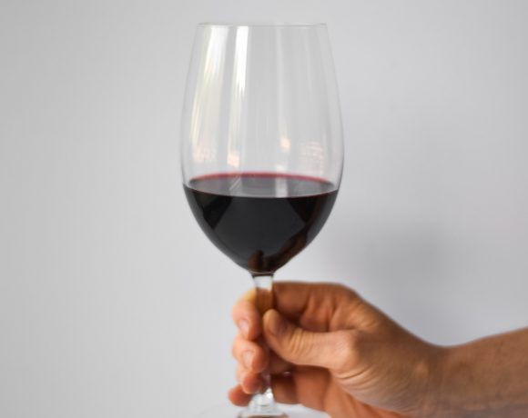 Wine pairing - hand holding a glass of red wine.