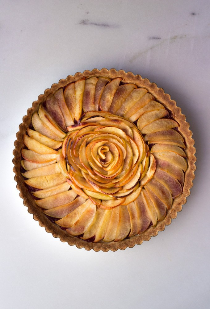 Apple tart with pear cranberry compote for vegan thanksgiving.