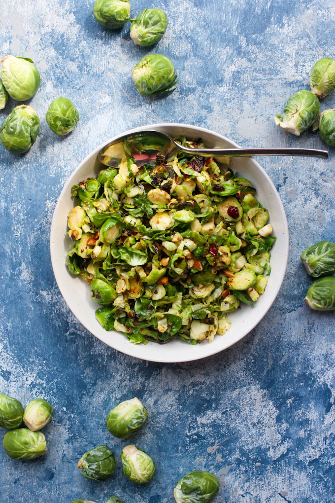 Brussel sprout salad for vegan thanksgiving.