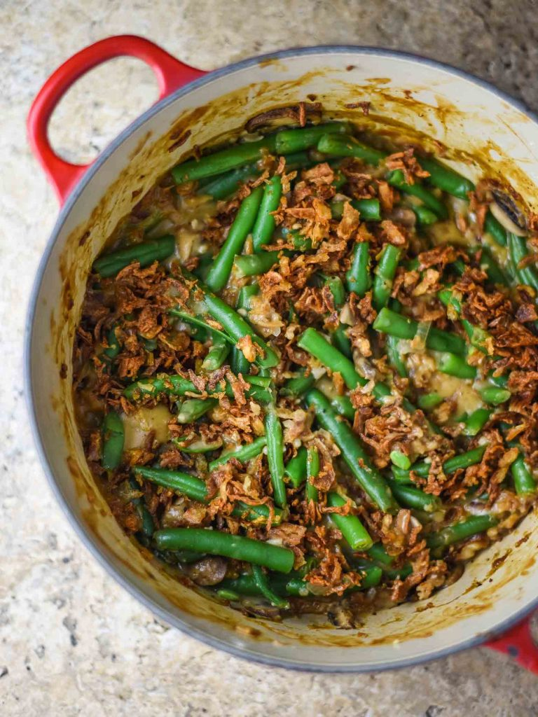 Vegan green bean casserole in a pot fresh out of the oven.