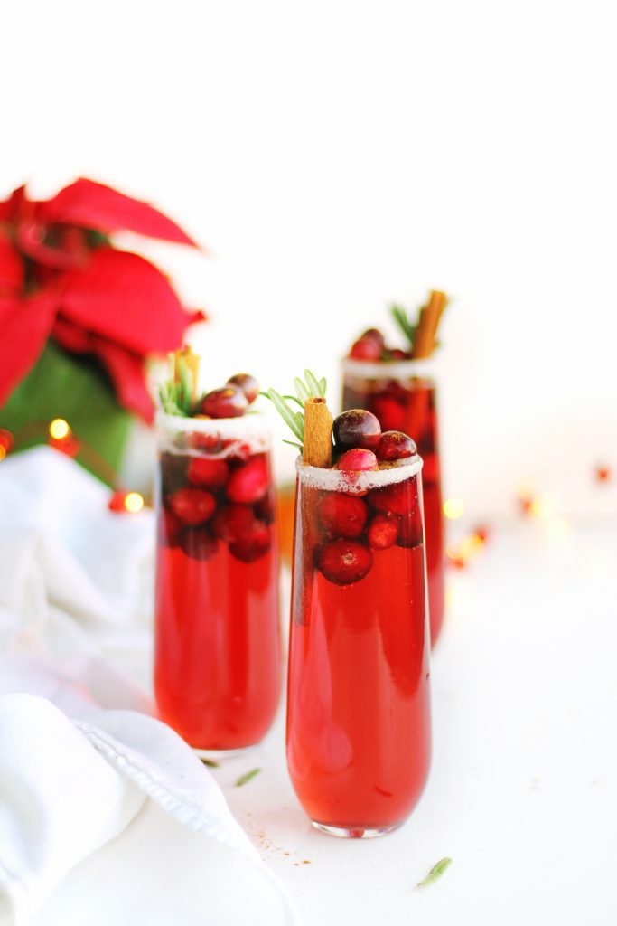 cranberry mimosa holiday mocktail
