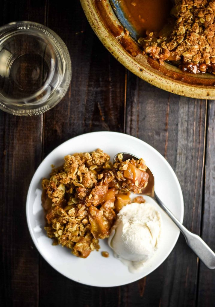 vegan apple crisp with vegan ice cream