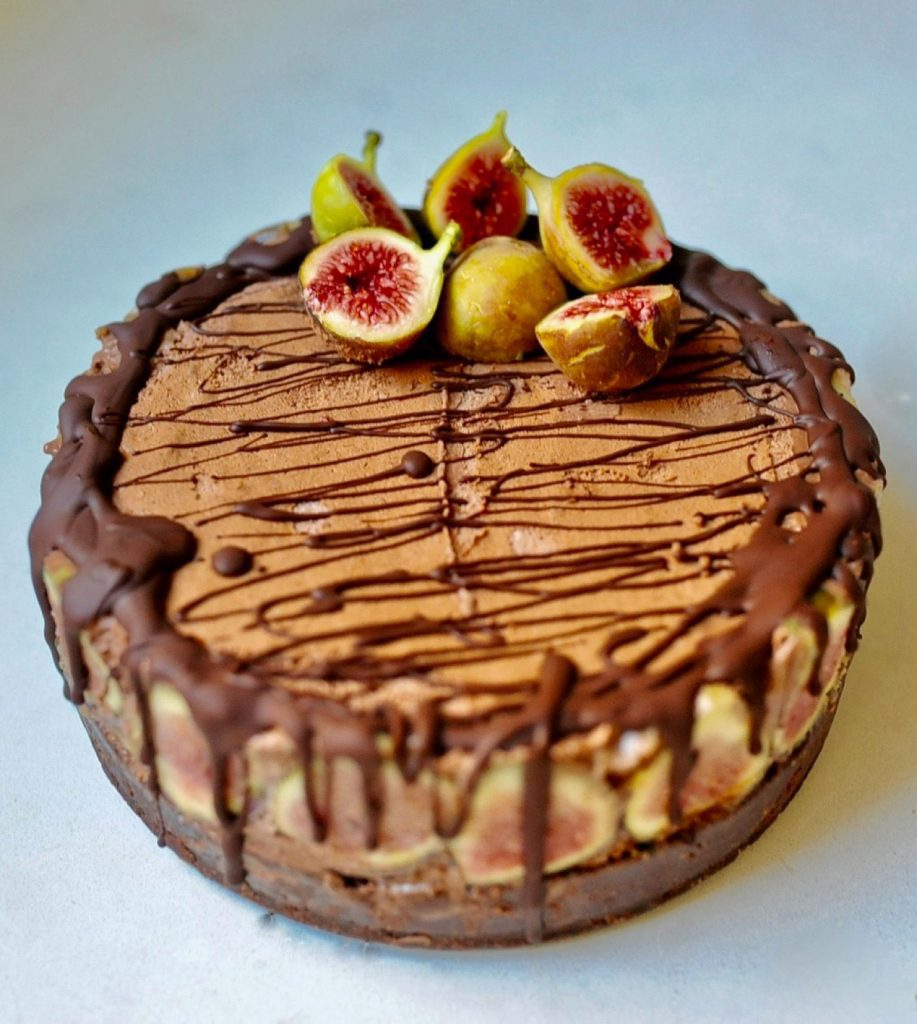 vegan chocolate cake with figs