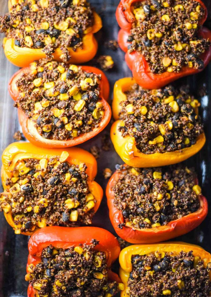 vegan stuffed peppers with quinoa, black beans, and corn