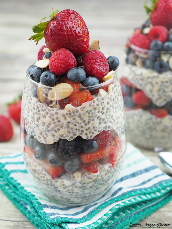 overnight oats with mixed berries and Chia seeds
