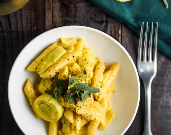 butternut squash sage pasta with a glass of white wine
