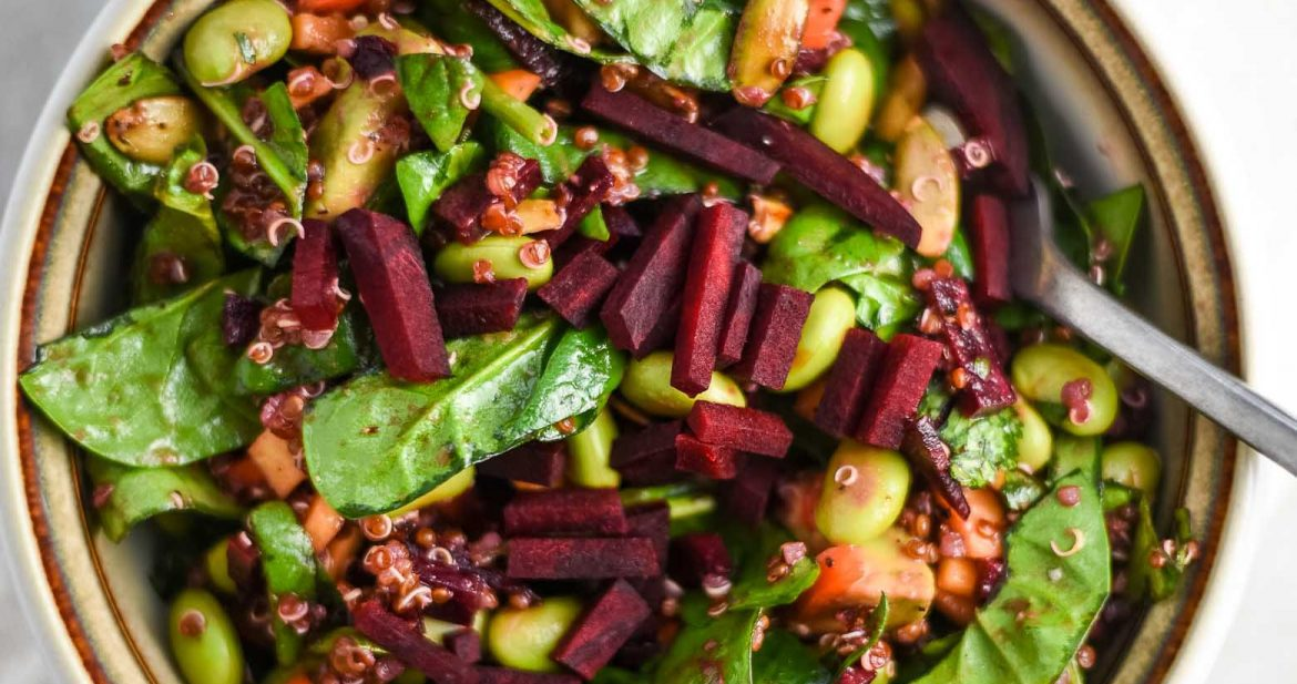raw beet salad close-up