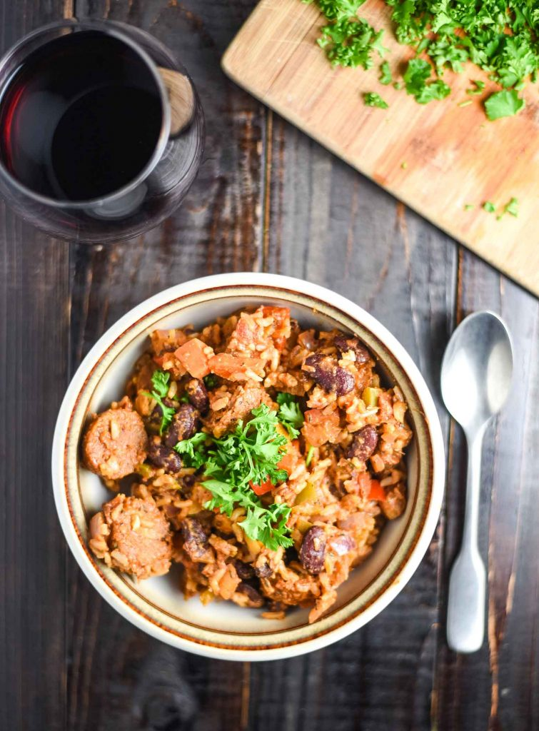 vegan jambalaya with fresh parsley and red wine